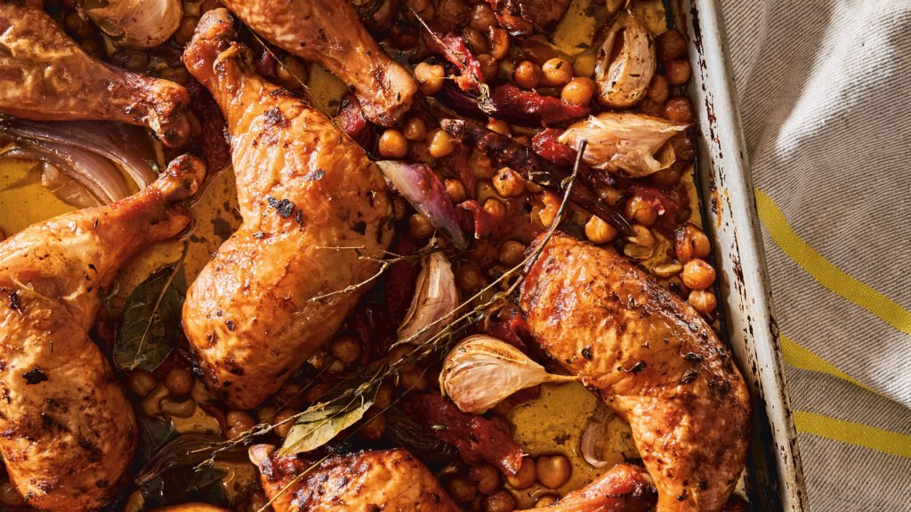 Sheet Pan Chicken with Tomatoes and Chickpeas recipe